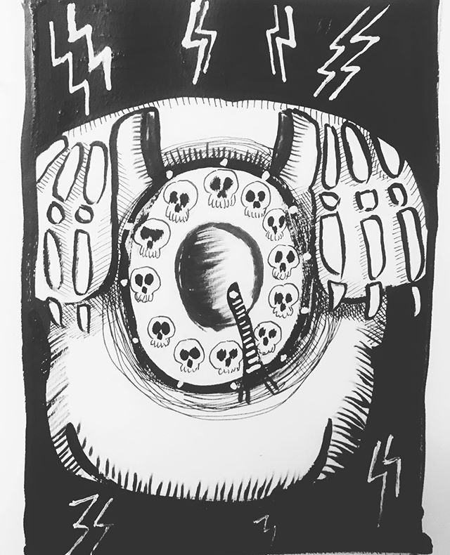 """INKTOBER Day 1- """"RING"""" ☎️ How about a spooky old rotary BONE PHONE? 🖤My #inktober2019 theme is skulls! 💀  Last year was my first time doing #inktober and I 🖤 it! Stay tuned you want to see some daily spoooky drawings 🖤 . . . #PIGinktober #ink #inkdrawing #drawing #sketch #darkart #blackandwhiteart #sketchbook #phillyart #phillyillustration #october #drawdaily #dailyart #artstagram #blackwork #brushpen #micron #illo @inktober @jakeparker"""