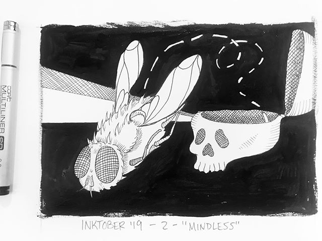 """INKTOBER Day 2- """"MINDLESS"""" 🐜 been seeing a lot of bugs lately. it's 93 degrees today- im ready for cooler weather! 🖤My #inktober2019 theme is skulls! 💀  Last year was my first time doing #inktober and I 🖤 it! Stay tuned you want to see some daily spoooky drawings 🖤 . . . #PIGinktober #ink #inkdrawing #drawing #sketch #darkart #blackandwhiteart #sketchbook #phillyart #phillyillustration #october #drawdaily #dailyart #artstagram #blackwork #brushpen #micron #illo @inktober @jakeparker"""