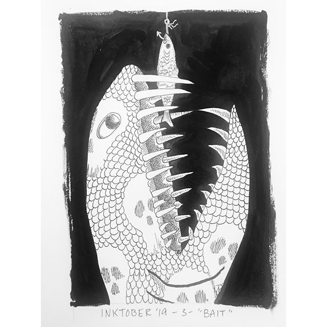 """INKTOBER Day 3- """"BAIT""""  I love me some spooky deep sea fish. Here's a little buy that's having a bad day. 🎣 🖤My #inktober2019 theme is skulls! 💀  Last year was my first time doing #inktober and I 🖤 it! Stay tuned you want to see some daily spoooky drawings 🖤 . . . #PIGinktober #ink #inkdrawing #drawing #sketch #darkart #blackandwhiteart #sketchbook #phillyart #phillyillustration #october #drawdaily #dailyart #artstagram #blackwork #brushpen #micron #illo @inktober @jakeparker"""