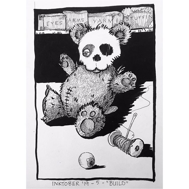 """INKTOBER Day 5- """"BUILD"""" 💀 Build-a-bearskull 💀 I really enjoyed making the textures in this piece. All micron and brush pen on paper 🖤My #inktober2019 theme is skulls! 💀  Last year was my first time doing #inktober and I 🖤 it! Stay tuned you want to see some daily spoooky drawings 🖤 . . . #PIGinktober #ink #inkdrawing #drawing #sketch #darkart #blackandwhiteart #sketchbook #phillyart #phillyillustration #october #drawdaily #dailyart #artstagram #blackwork #brushpen #inktober #micron #illo @inktober @jakeparker"""