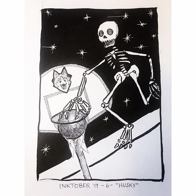 """INKTOBER Day 6- """"HUSKY"""" A little CT pride- go Huskies! This skeleton is the Husky Womens- one of the best basketball teams of all time!! 🖤My #inktober2019 theme is skulls! 💀  Last year was my first time doing #inktober and I 🖤 it! Stay tuned you want to see some daily spoooky drawings 🖤 . . . #PIGinktober #ink #inkdrawing #drawing #sketch #darkart #blackandwhiteart #sketchbook #phillyart #phillyillustration #october #drawdaily #dailyart #artstagram #blackwork #brushpen #micron #illo #uconn #uconnhuskies #huskywomen #gohuskies @inktober @jakeparker"""