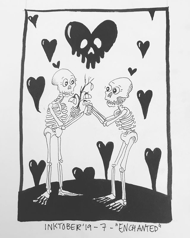 """INKTOBER Day 7- """"ENCHANTED"""" These sweet skellingtons are so enchanted with each other 🖤🖤🖤 🖤My #inktober2019 theme is skulls! 💀  Last year was my first time doing #inktober and I 🖤 it! Stay tuned you want to see some daily spoooky drawings 🖤 . . . #PIGinktober #ink #inkdrawing #drawing #sketch #darkart #blackandwhiteart #sketchbook #skeleton #phillyart #phillyillustration #october #drawdaily #dailyart #artstagram #blackwork #brushpen #micron #illo @inktober @jakeparker"""