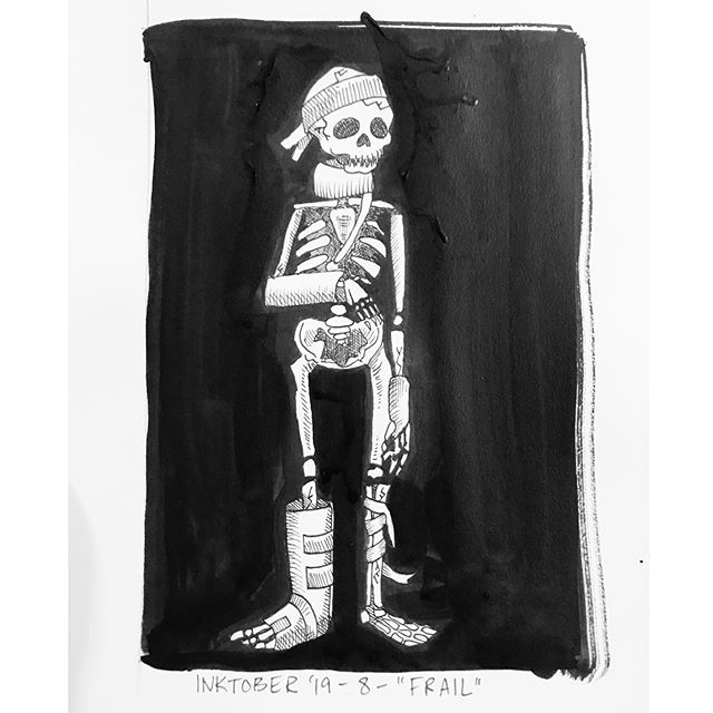 """INKTOBER Day 8- """"FRAIL"""" Here's a guy in a boot. Boy, I remember that feeling. At least my skull wasn't cracked too! 🖤My #inktober2019 theme is skulls! 💀  Last year was my first time doing #inktober and I had a lot of success with it. Stay tuned you want to see some daily spooky drawings 👻 🖤 . . . #PIGinktober #ink #inkdrawing #drawing #sketch #darkart #blackandwhiteart #sketchbook #crowquill #micron #skeleton #phillyart #phillyillustration #october #drawdaily #dailyart #artstagram #blackwork #brushpen #micron #illo @inktober @jakeparker"""