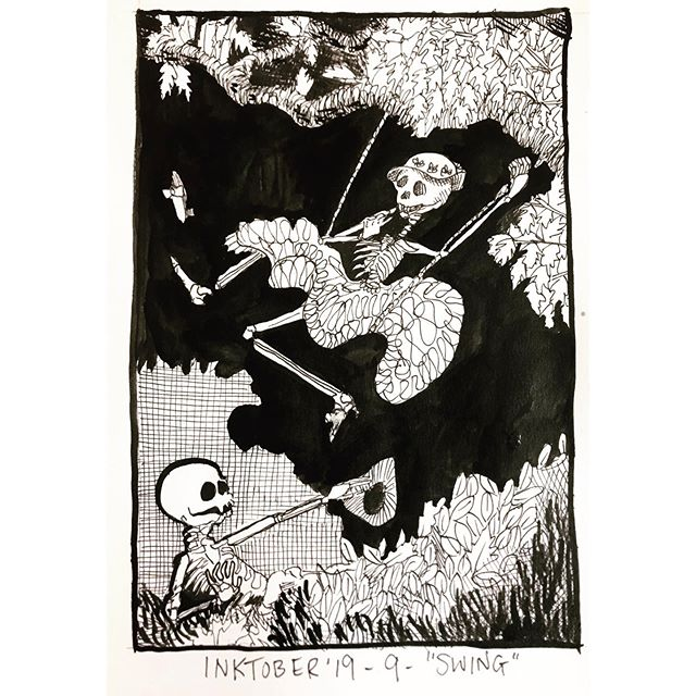 """INKTOBER Day 9 - """"SWING"""" After The Swing by Jean Honoré Fragonard 🖤My #inktober2019 theme is skulls! 💀  Last year was my first time doing #inktober and I had a lot of success with it. Stay tuned you want to see some daily spooky drawings 👻 🖤 . . . #PIGinktober #ink #inkdrawing #drawing #sketch #darkart #blackandwhiteart #sketchbook #crowquill #micron #skeleton #phillyart #phillyillustration #october #drawdaily #dailyart #artstagram #blackwork #brushpen #micron #illo #rococo @inktober @jakeparker"""