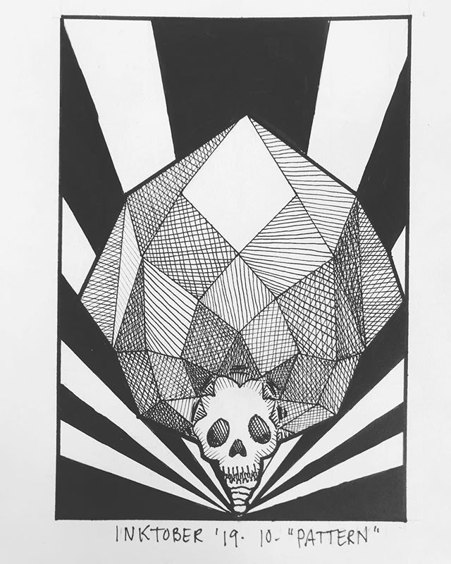 """INKTOBER Day 10 - """"PATTERN"""" Not what I had in mind when I sat down but here it is! 🖤My #inktober2019 theme is skulls! 💀  Last year was my first time doing #inktober and I had a lot of success with it. Stay tuned you want to see some daily spooky drawings 👻 🖤 . . . #PIGinktober #ink #inkdrawing #drawing #sketch #darkart #blackandwhiteart #sketchbook #crowquill #micron #skeleton #phillyart #phillyillustration #october #drawdaily #dailyart #artstagram #blackwork #brushpen #micron #illo @inktober @jakeparker"""
