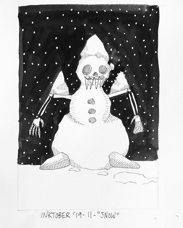 """INKTOBER Day 11 - """"SNOW"""" 🖤My #inktober2019 theme is skulls! 💀  Last year was my first time doing #inktober and I had a lot of success with it. Stay tuned you want to see some daily spooky drawings 👻 🖤 . . . #PIGinktober #ink #inkdrawing #drawing #sketch #darkart #blackandwhiteart #sketchbook #crowquill #micron #skeleton #phillyart #phillyillustration #october #drawdaily #dailyart #artstagram #blackwork #brushpen #micron #illo @inktober @jakeparker"""