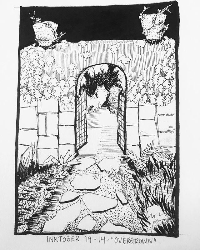 "INKTOBER Day 14 - ""OVERGROWN"" I love iron gates and decorative iron. Just a nice secluded, abandoned garden walk. 🖤#inktober2019 . . . #PIGinktober #ink #inkdrawing #drawing #sketch #darkart #blackandwhiteart #sketchbook #crowquill #micron #skeleton #phillyart #phillyillustration #october #drawdaily #dailyart #artstagram #inktober #blackwork #brushpen #micron #illo @inktober @jakeparker"