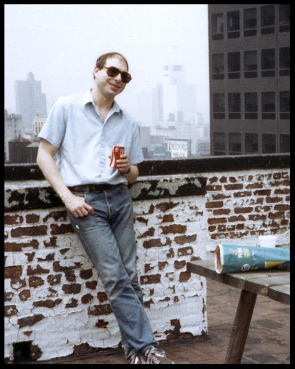 David Witz (Arthur Ether) outside Studio B at Clack Studios NYC around 1983