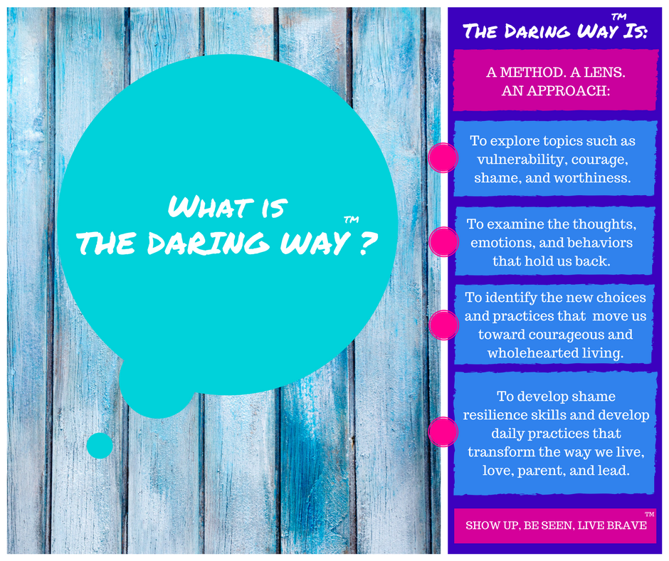 The Daring Way, a curriculum based on the research of Dr. Brene Brown.