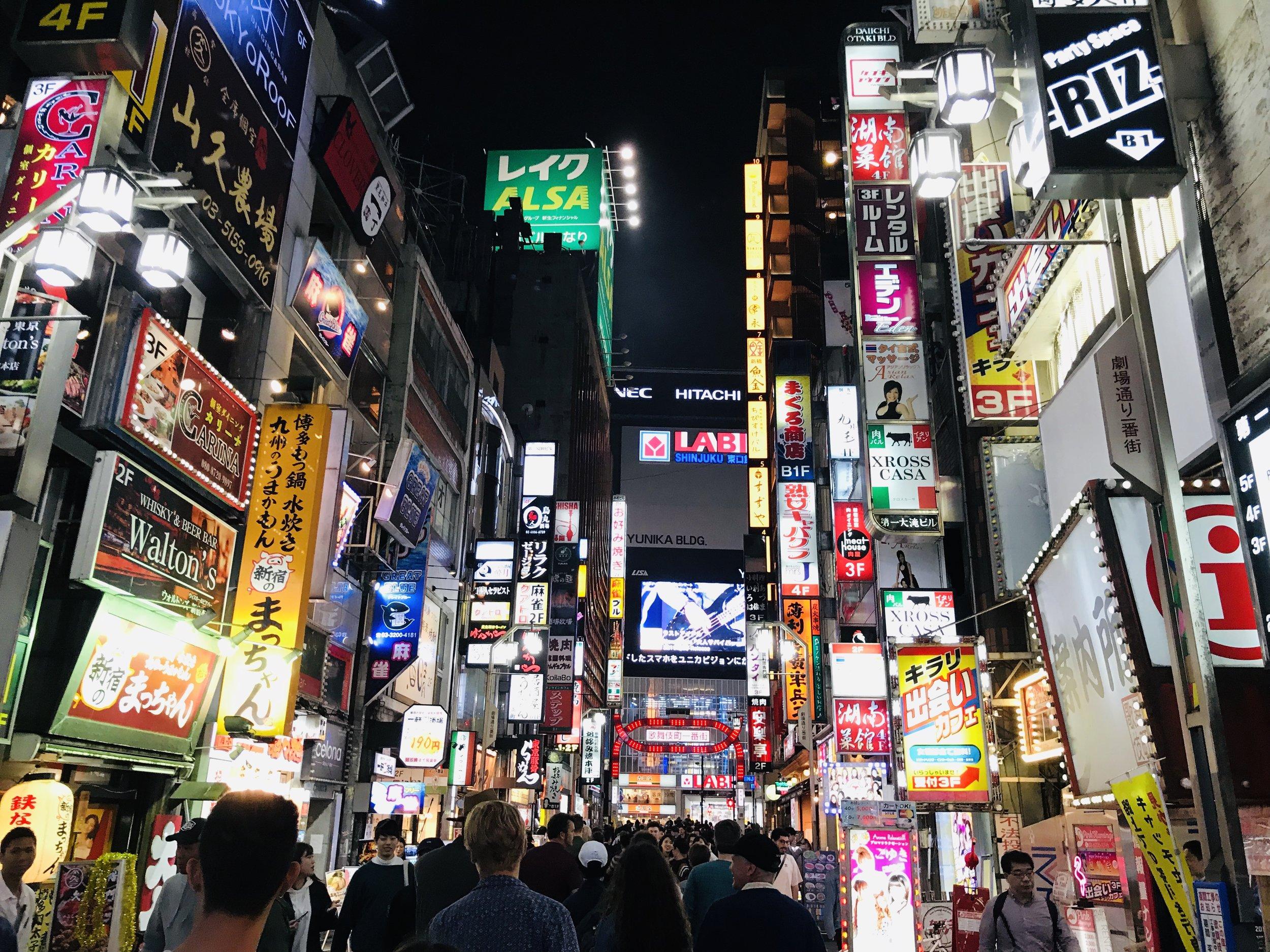 Walking through Shinjuko, Tokyo