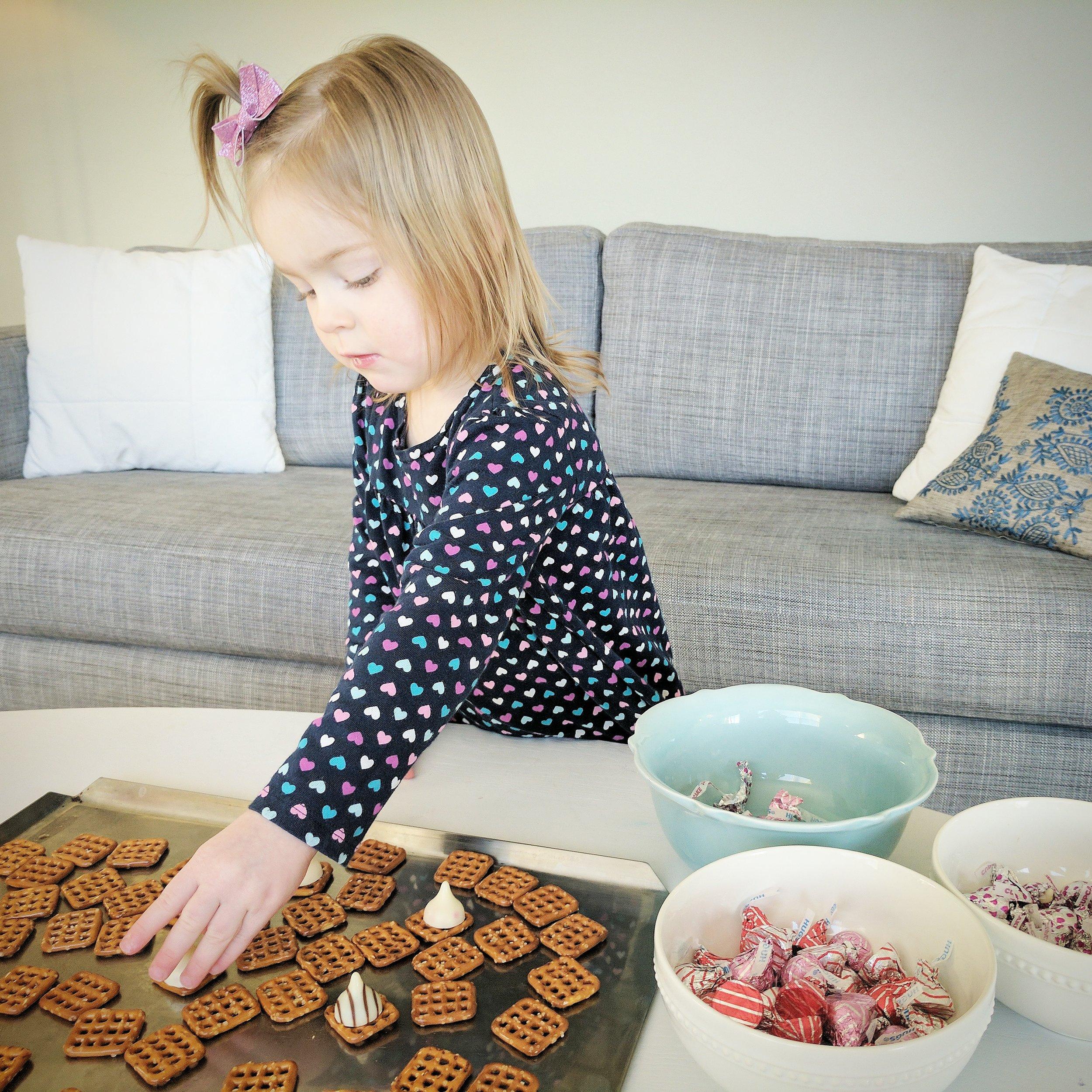 square pretzels / Hershey's hugs / Hershey's white cookie cupcake kisses / valentine M&M's