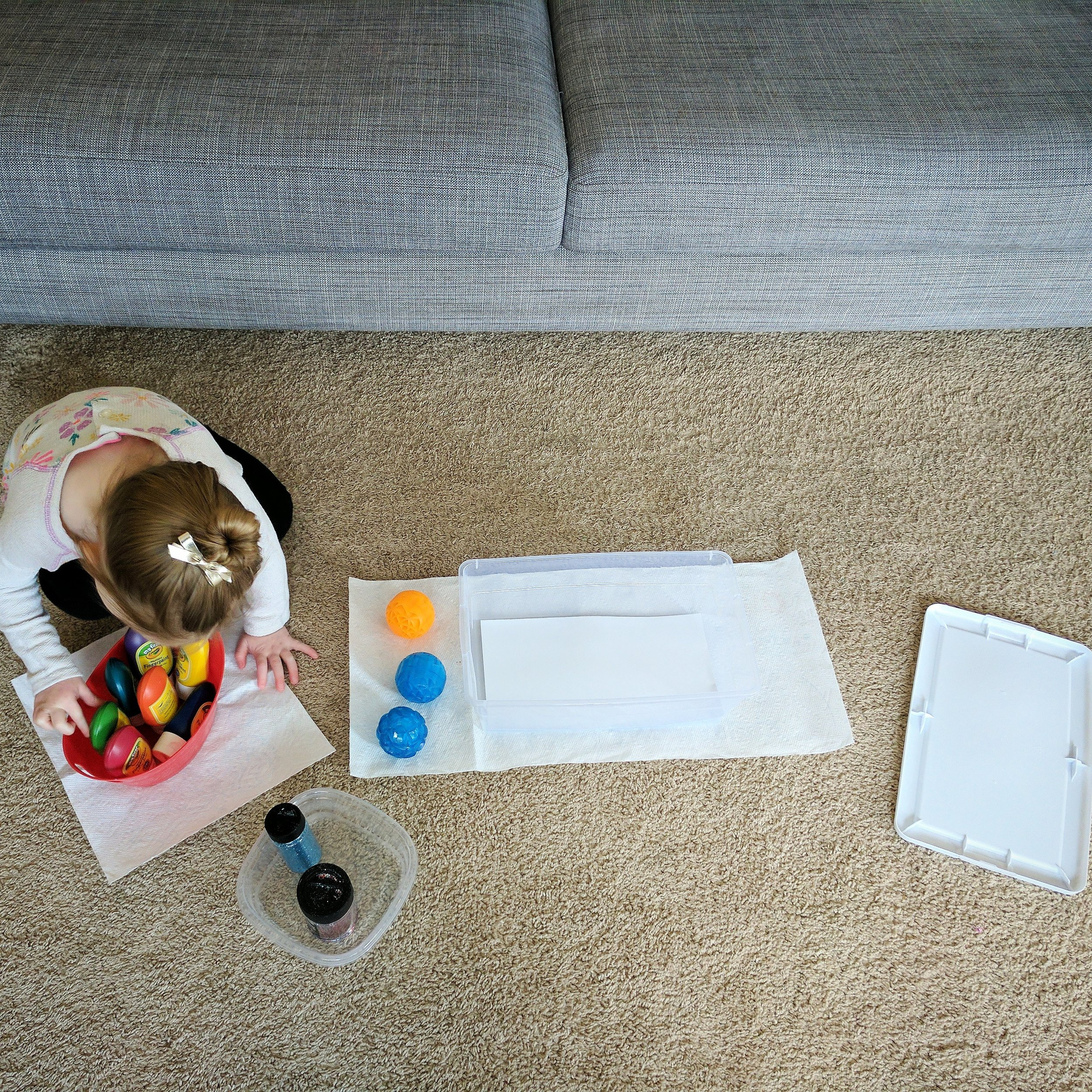 plastic containers & lid / card stock paper / paint / glitter / light-up bouncy balls