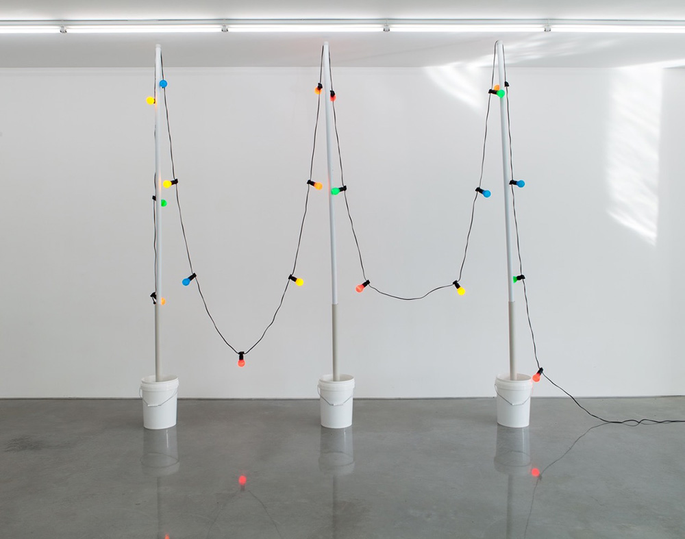 Tony Schwensen,  Elegy to the Australian Republic (Motherwell Avoids relegation) , 2003, concrete, pvc, buckets, lights, 317.5 x 315.5 x 30.5cm. Image courtesy the artist and Sarah Cottier Gallery