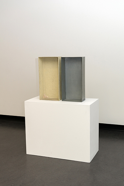 Joseph Beuys, Sulphur-Covered Zinc Box (plugged Corner) , 1970, Part of Edition includes an additional zinc box, stamped Hauptstrom. Edition 200 copies planned, 150 completed signed and numbered, Publisher: Edition Tangente, Heidelberg. 64 x 31 x 18cm, private collection, Melbourne