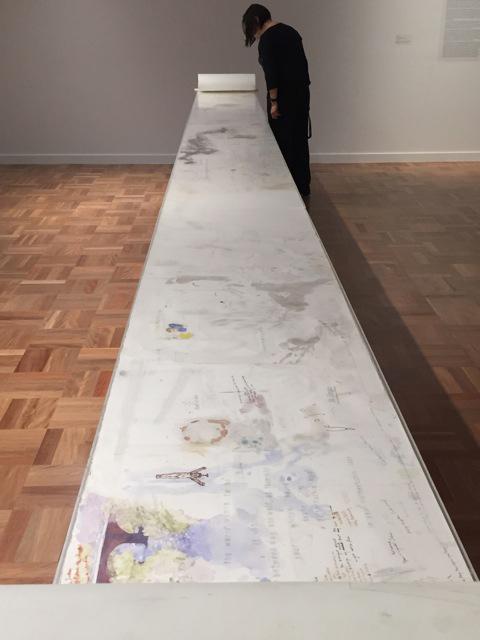 Greg Creek, Melbourne Desktop Drawing 2003 , 2015, mixed media on cut paper, aluminium table. 80cm x 53.5 x 30cm.