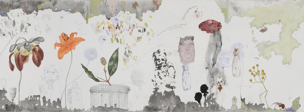 Greg Creek, ChatterShapes (Mecahnism of Gardens) , 2009, mixed media on paper, text on cut paper (detail)
