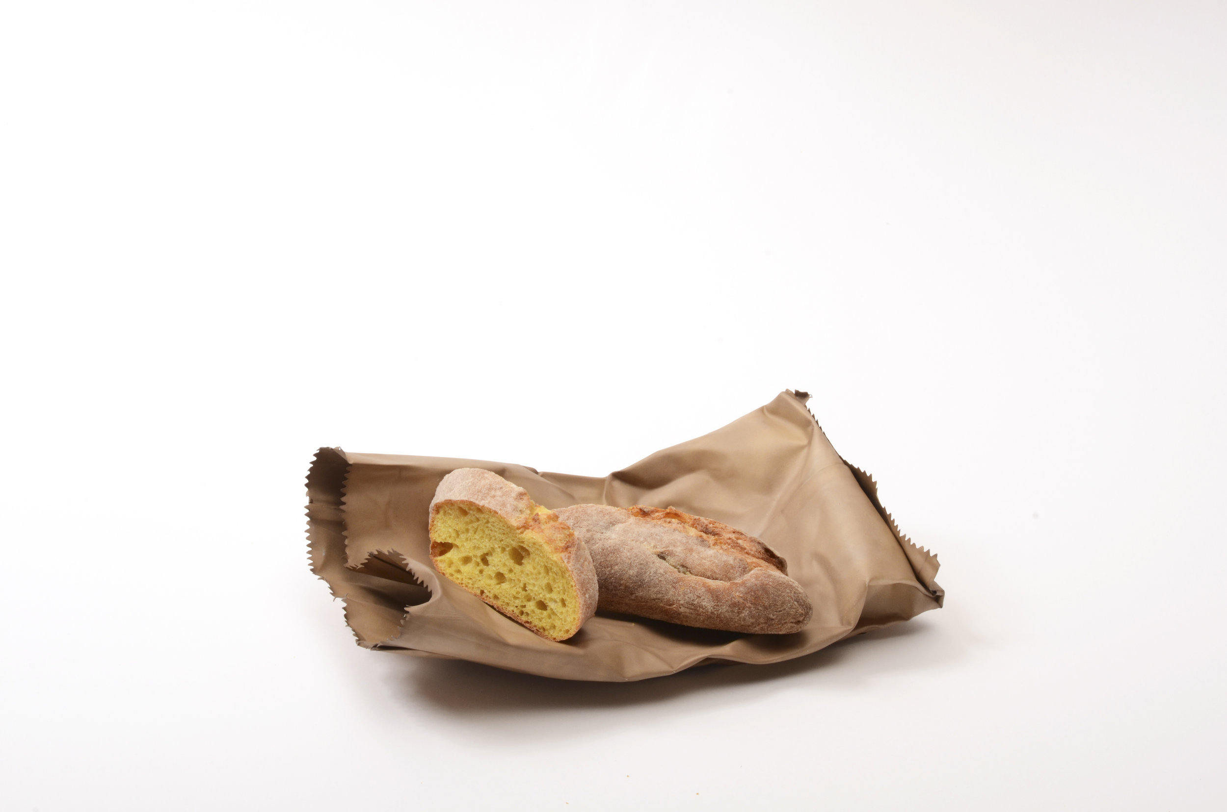 David Bielander,  Paper bag (Croissant),  2016, patinated silver, photograph by Dirk Eisel