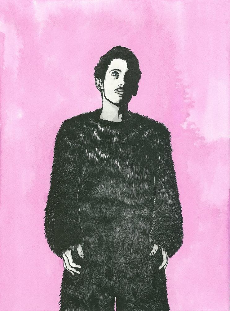 Paul Compton,  Party's over  , Hand-coloured Linocut, 38 x 28 cm, 2014