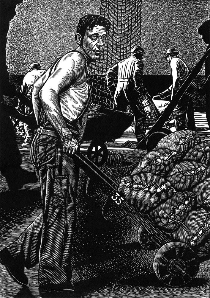 Rew Hanks,  Cinderella Man  , Linocut, 38 x 28 cm, 2014