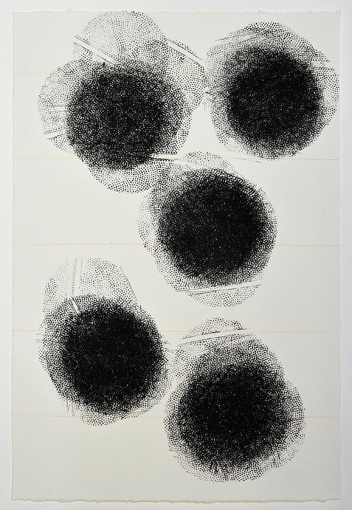 Nick Selenitsch,  Bounce print  , Acrylic screenprinting ink, pencil, 38.5 x 57 cm, 2013