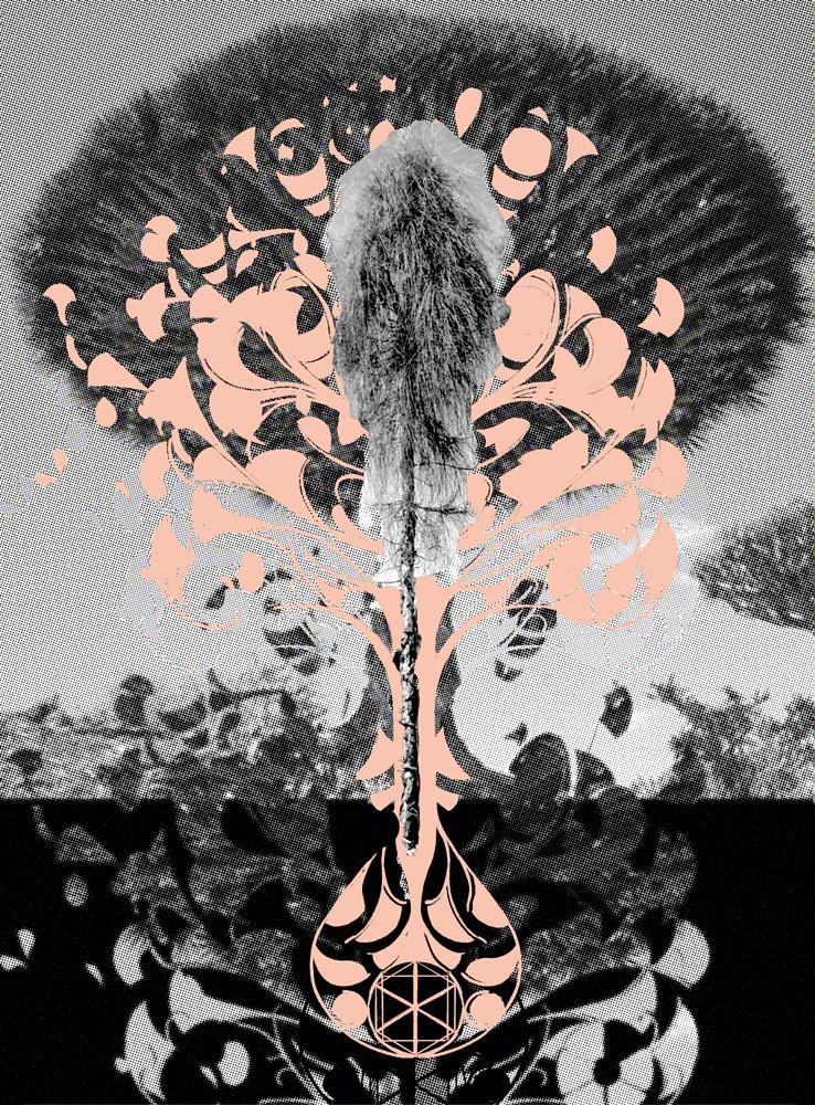 Belle Bassin,  A tree is a tree is an eggman is a walrus  , Screen print, 38 x 28 cm, 2010