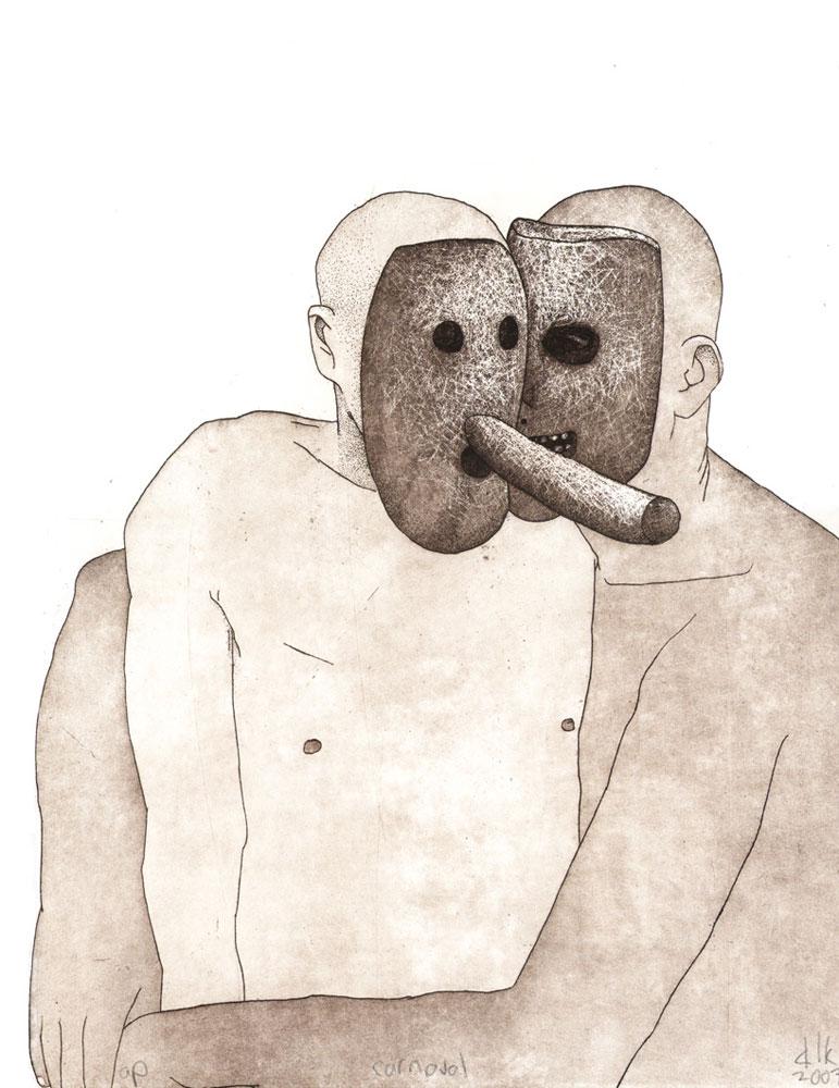 Damon Kowarsky,  Carnaval  , etching, 38 x 28 cm, 2007