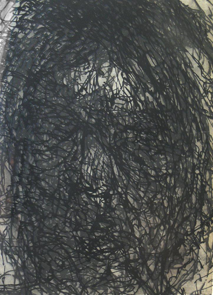 Alex Carroll,  Self-portrait, delineated  , Etching, 38 x 28 cm, 2007