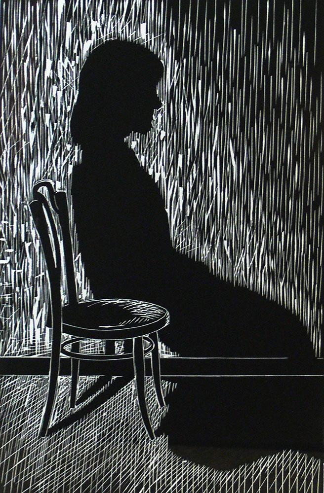 Shane Jones,  Where  , Linoleum cut, 38 x 28 cm, 2007
