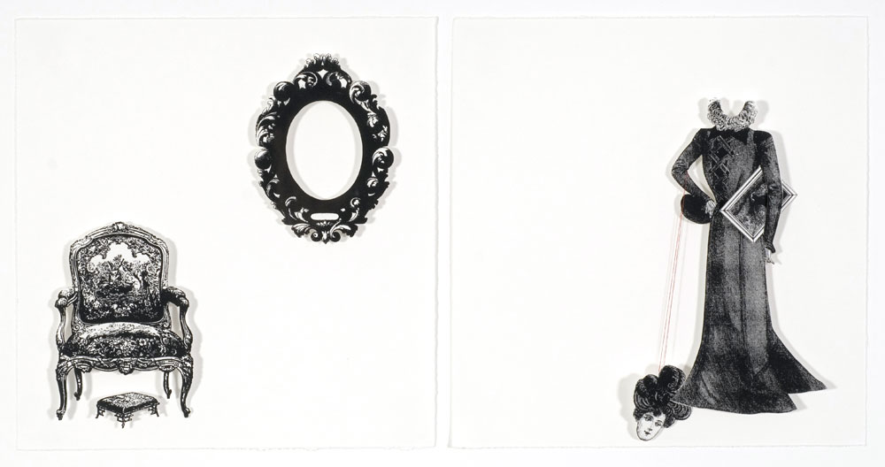Stacey Ryan,  Don't fret dear  , Screen print diptych with paper cutouts, 27 x 26 cm (x2), 2006