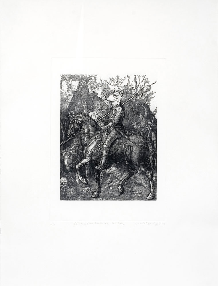 Michael Vale,  (Smoking) Dog, Death and the Devil  , Etching, 76 x 56 cm, 2006