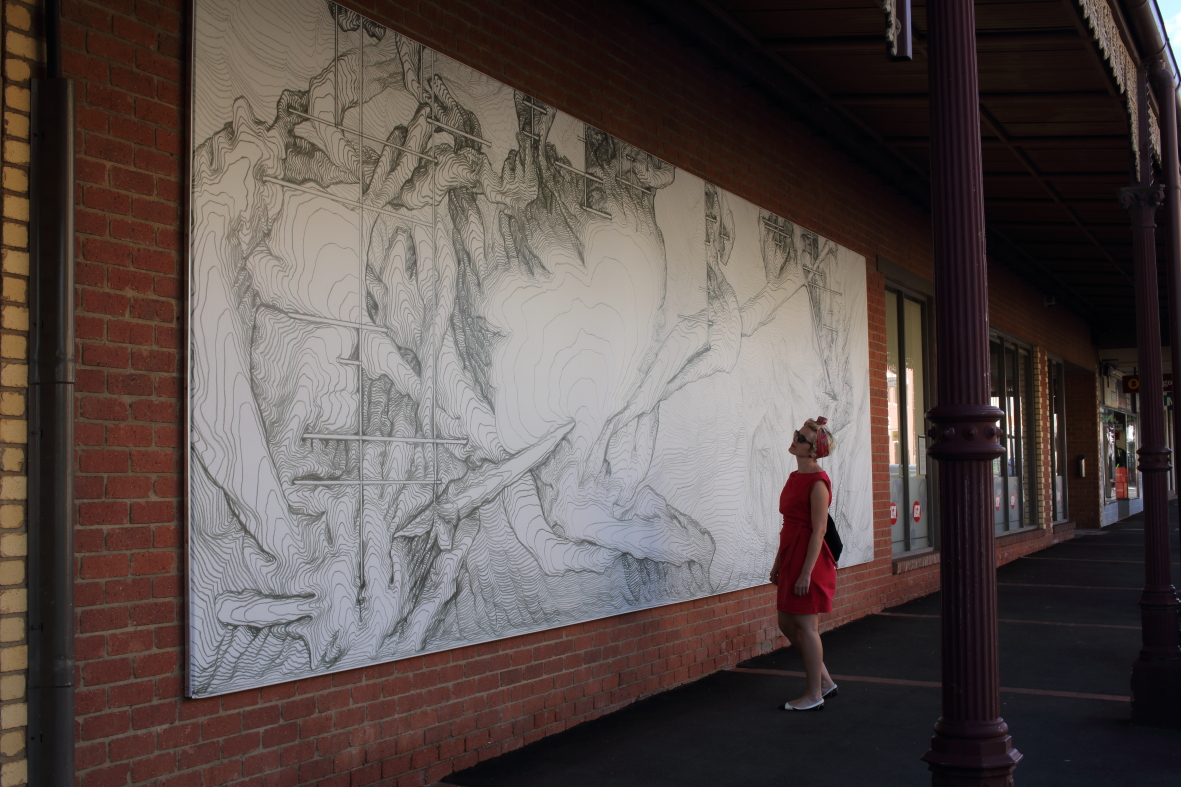 James Geurts,  Watertable , 2015, Public Artwork commission, Site-specific work on paper as billboard, 10m x 3.2m Curated by Maudie Palmer AO, St Arnaud Victoria