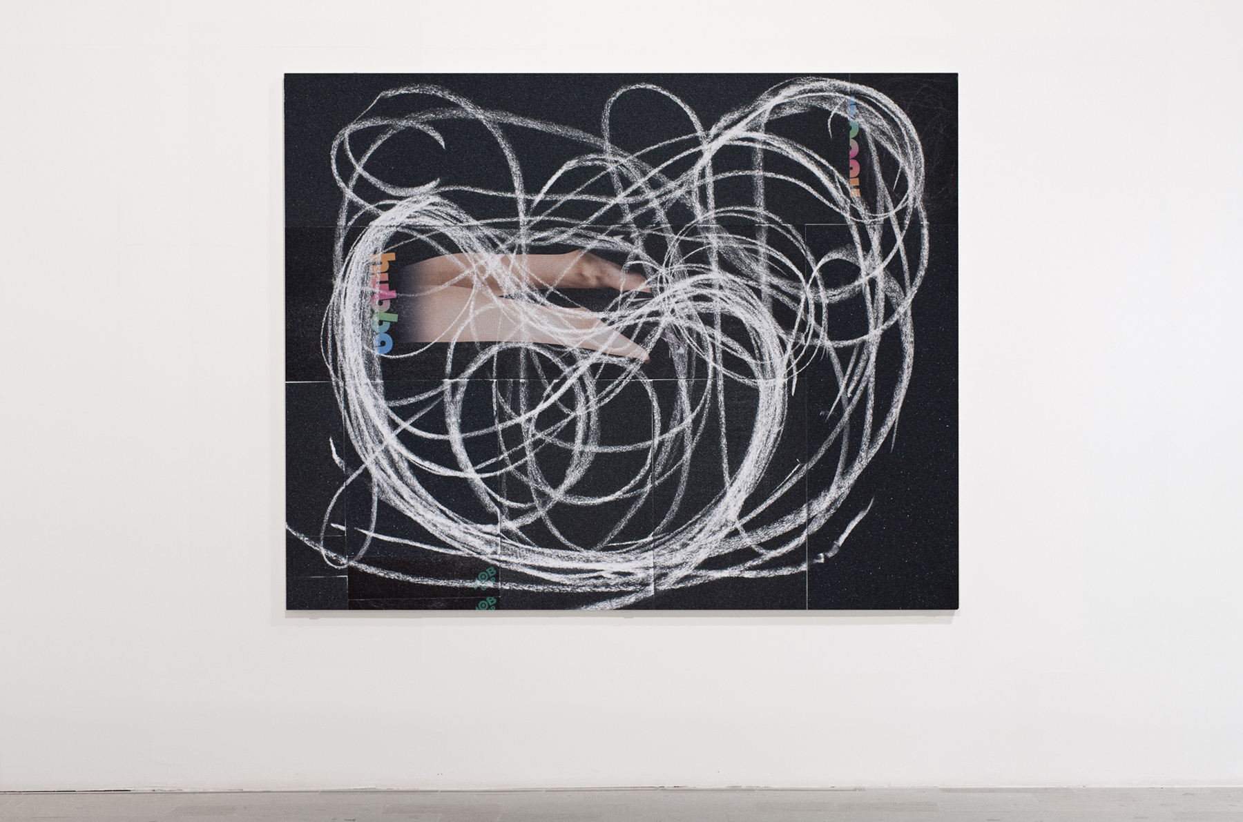 Rui Mizuki,  Pool #Broad Beans 1 , 2015, chalk on grip-tapes, 1000 x 727 mm
