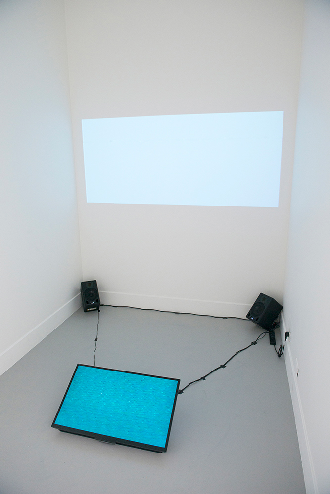 2013,  Projector , 32' LCD monitor, speakers, Videotapes exposed to water and high voltage electricity pylon, transferred to digital video