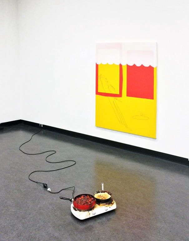 Kieren Seymour,  24 Hour Meal , 2015, beef casserole and yoghurt casserole on electric cooker, dimensions variable