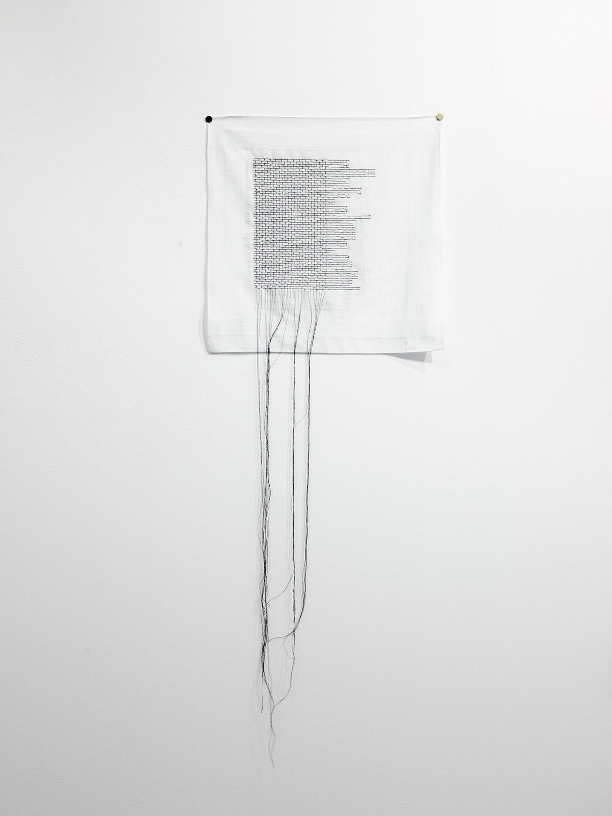 Sue Lorraine, The lost brick course,  2017 Men's handkerchief and cotton thread.