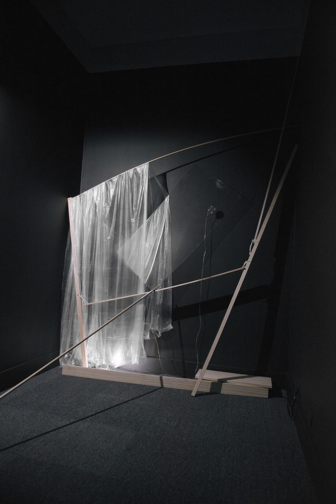Bruce Dickson,  Fugitive Presence  (detail of installation), 2013, Acrylic sheet, plastic sheeting, ink, wood, Dimensions variable