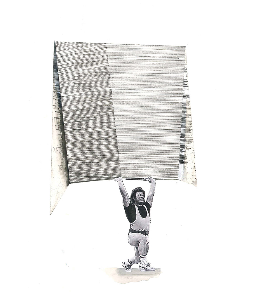 Ines Hochgerner,  Body Builing [#1] , collage on paper, 26x19cm