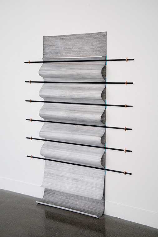 Ines Hochgerner,  Body Builder No.3 , 2014, Wall installation – drawings (ink on paper), 6 curtain rods, foam, metal, mosquito net, 205 x 150 cm
