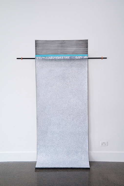 Ines Hochgerner,  Body Builder No.2,  2014, Wall installation – drawings (ink and mixed media on paper), 1 curtain rod, foam, metal, mosquito net, 205 x 150 cm