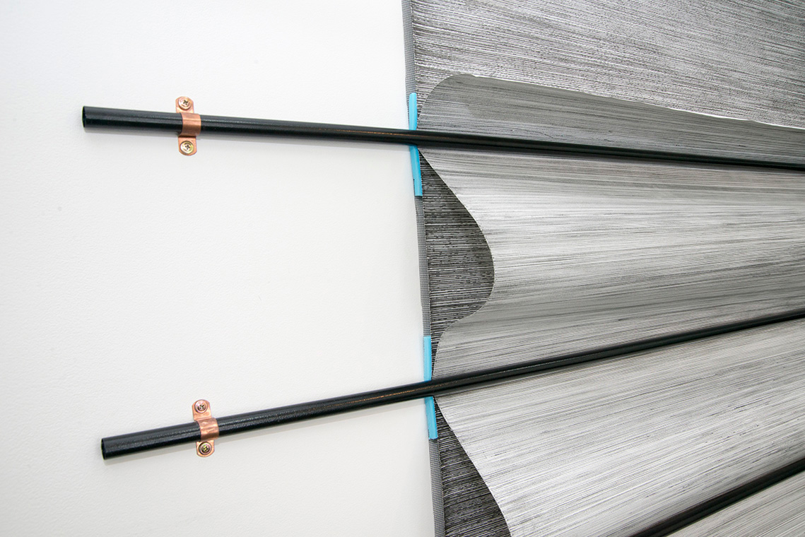 Ines Hochgerner,  Body Builder No.3 ,2014, Wall installation – drawings (ink on paper), 6 curtain rods, foam, metal, mosquito net, 205 x 150 cm
