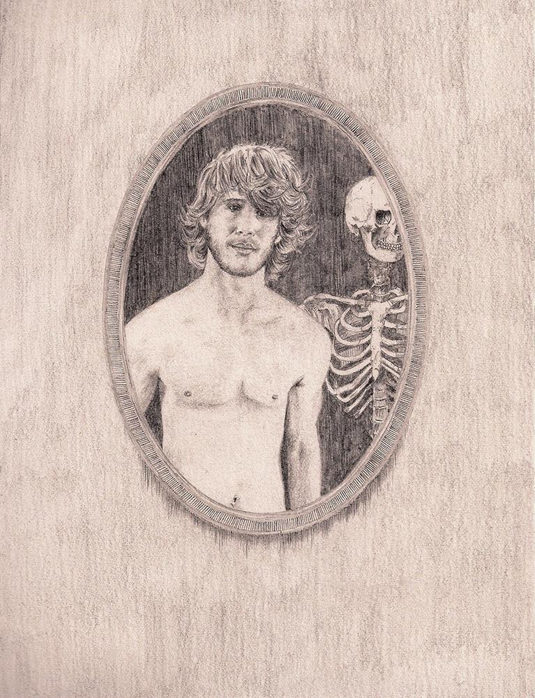 Paul Compton,  Amateur Porn Star Meets Old Bones, 2012, Pencil on paper 15.2 x 20cm