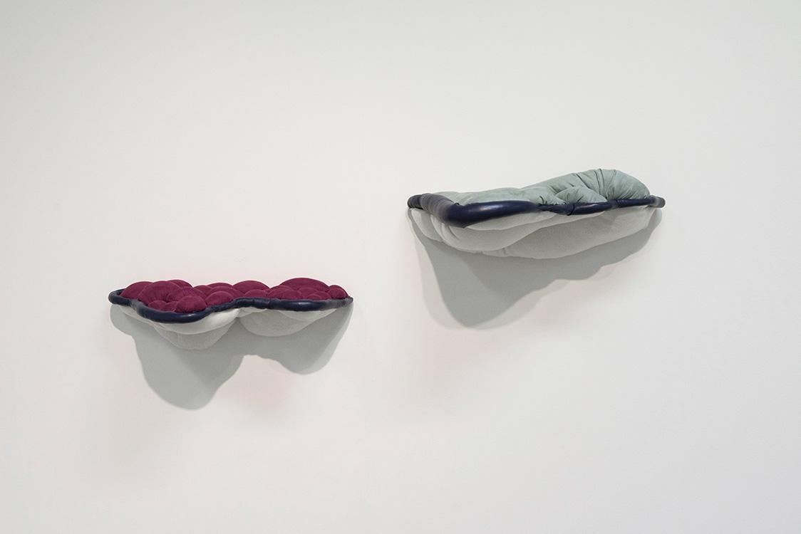 Zamara Robison,  RisesFallsInsOuts,  2014, wall mounted fabric constructions