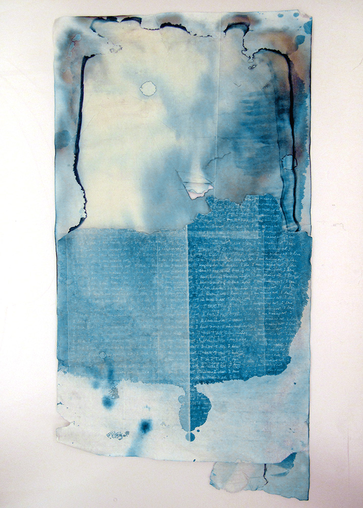 Tracy Lam,  I live, I die, I am making art 2,  2014, Cyanotype on rice paper