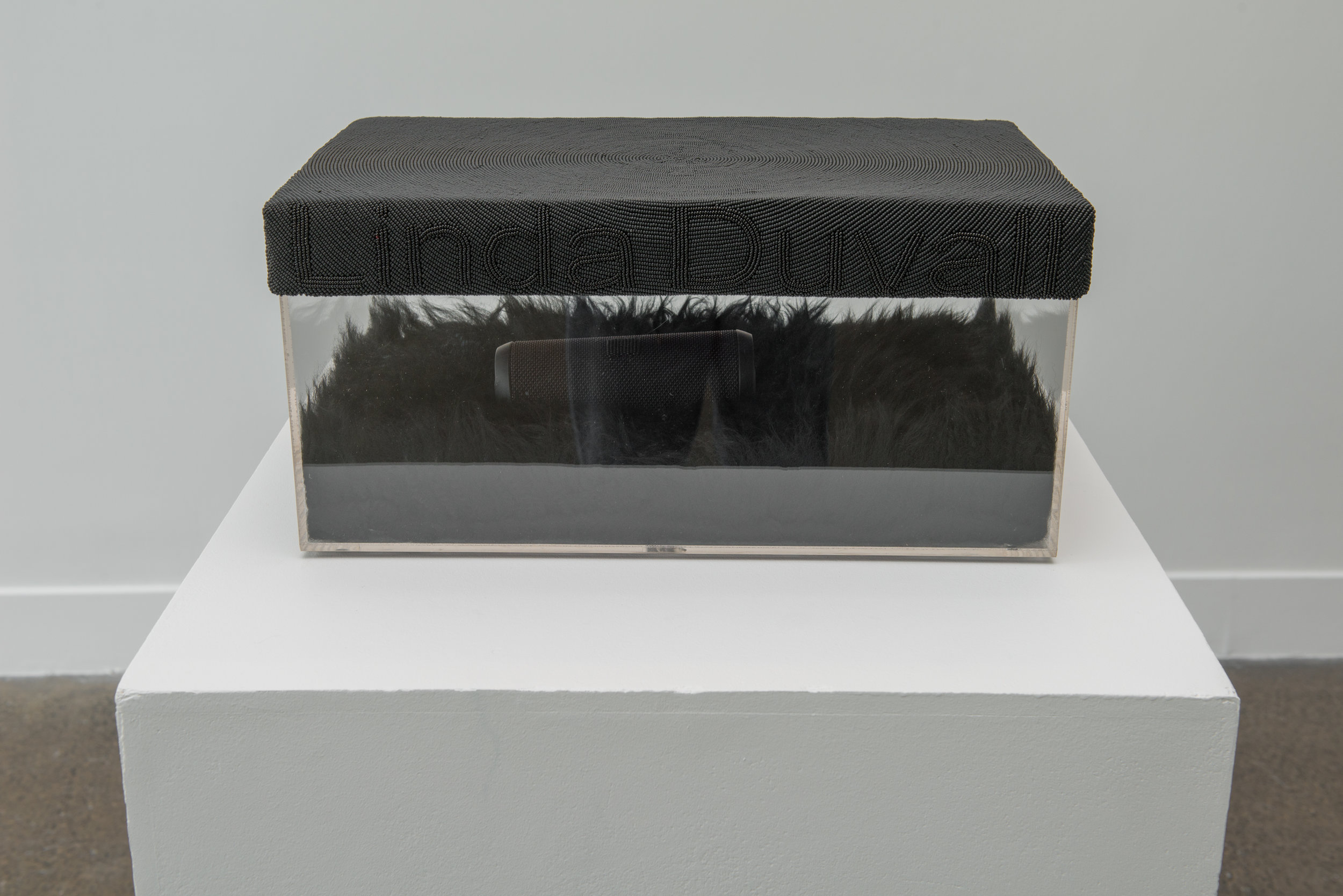I thank her for every lesson , 2016, beads, plexi-glass, speakers, sound recording, black bear fur, 45.7 x 26.7 x 20.3cm