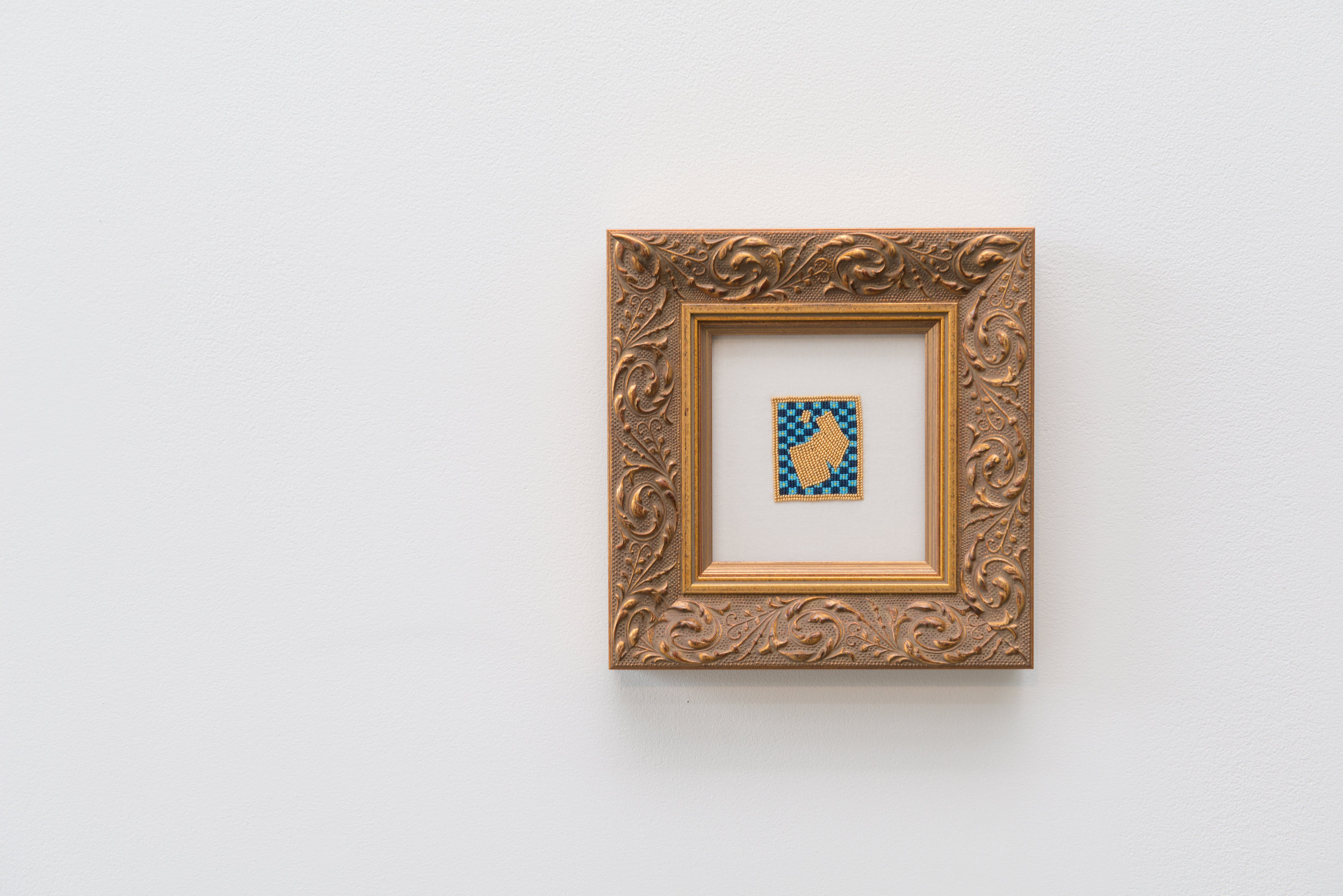 Capped Manuscript Illumination…Indigenized (J),  2016, 24K gold plated beads, glass beads, 3.8 x 4.8cm. In collaboration with Cruz Anderson. From the series  Family portrait,  2014-2017.