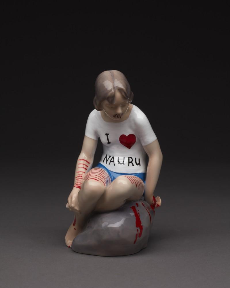 Penny Byrne,  I Heart Nauru,  2017, Repurposed porcelain figure, enamel paints, 140 x 90 x 90 mm
