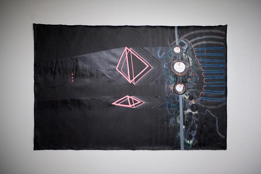 Nicholas Dallwitz,  Night Spatial (nonceptual),  2011, acrylic, oil, maker, mix media, 300 x 180 cm