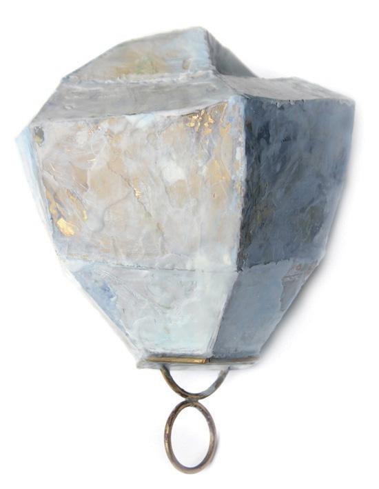 Inari Kiuru,  Brooch Crystal , 2010, Mild steel, crystal, welded kiln fused,