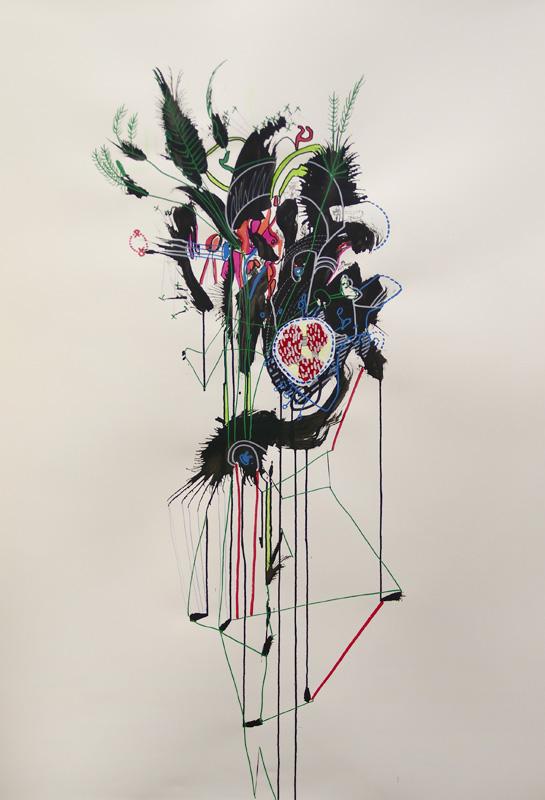 Nicholas Dallwitz,  Numen Botanical  1, 2011, Ink and mixed media on paper, 86 x 122 cm