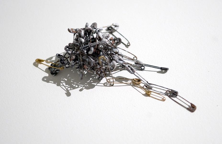 Inari Kiuru, Brooch , 2010, safety pins, liquid enamel; assembled, kiln fired